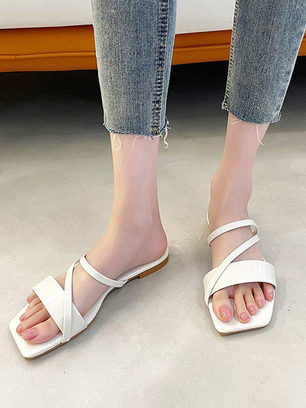 Online Square Toe Strappy Slip-On Sandals
