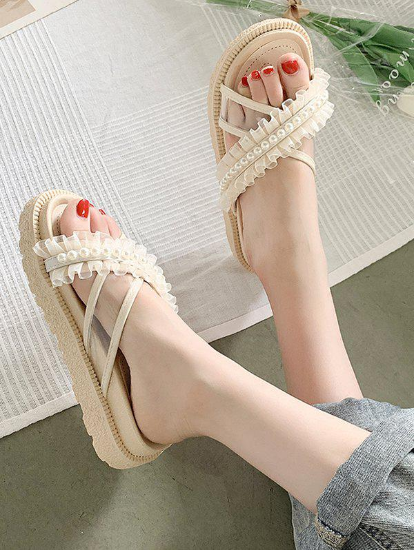 Outfit Faux Pearl Lace Strappy Slip-On Sandals