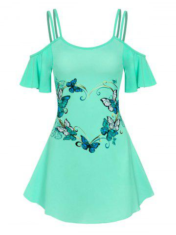 Cold Shoulder Strappy Butterfly Print Dress