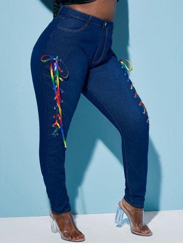 Skinny Colorful Lace Up Front Plus Size Jeans - DEEP BLUE - 3XL