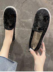 Round Toe Sequined Mesh Slip-On Shoes -
