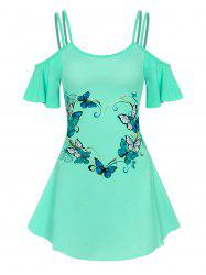Cold Shoulder Strappy Butterfly Print Dress -