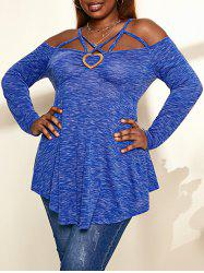 Plus Size Cold Shoulder Criss-cross Heathered T-shirt -