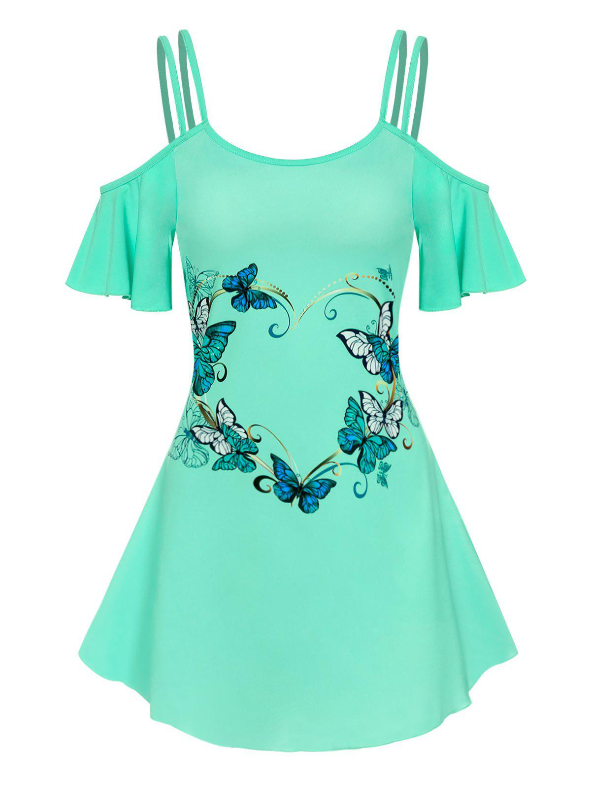 Outfits Cold Shoulder Strappy Butterfly Print Dress