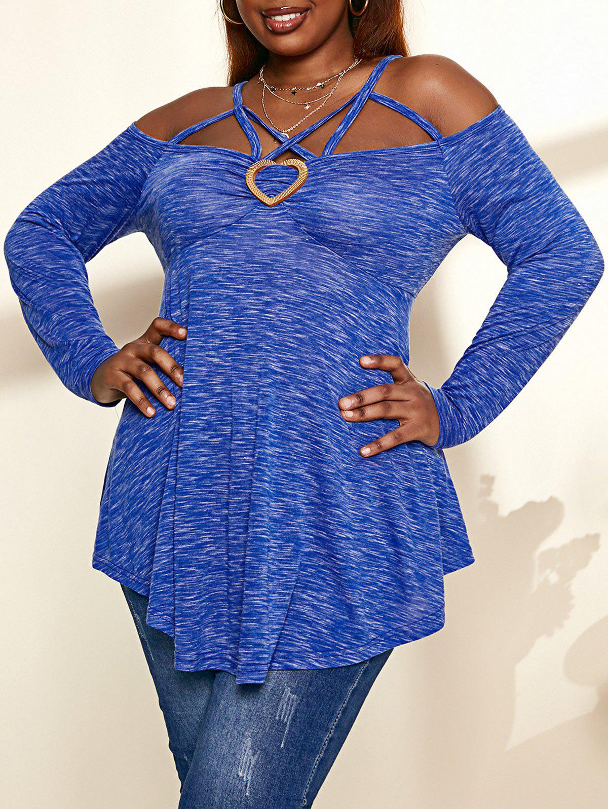 Buy Plus Size Cold Shoulder Criss-cross Heathered T-shirt