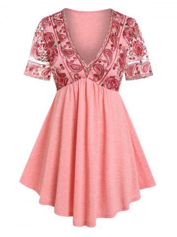 Plus Size Plunge Paisley Embroidered Tee - LIGHT PINK - L