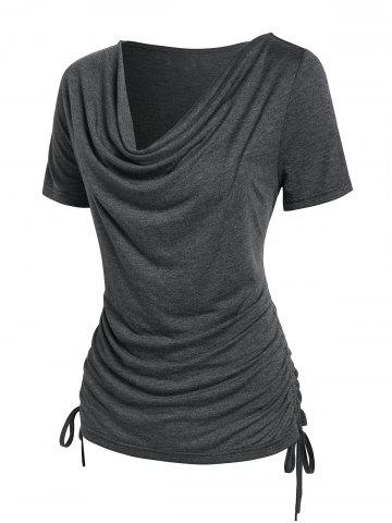 Cowl Neck Ruched Cinched T-shirt