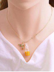 Bee And Honey Pot Pendant Necklace -