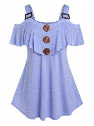 Plus Size Ruffle Cold Shoulder Buckled Tee -