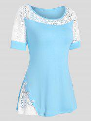 Lace Insert Mock Button Two Tone T Shirt -