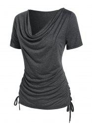 Cowl Neck Ruched Cinched T-shirt -