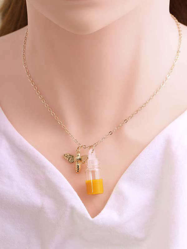 Store Bee And Honey Pot Pendant Necklace
