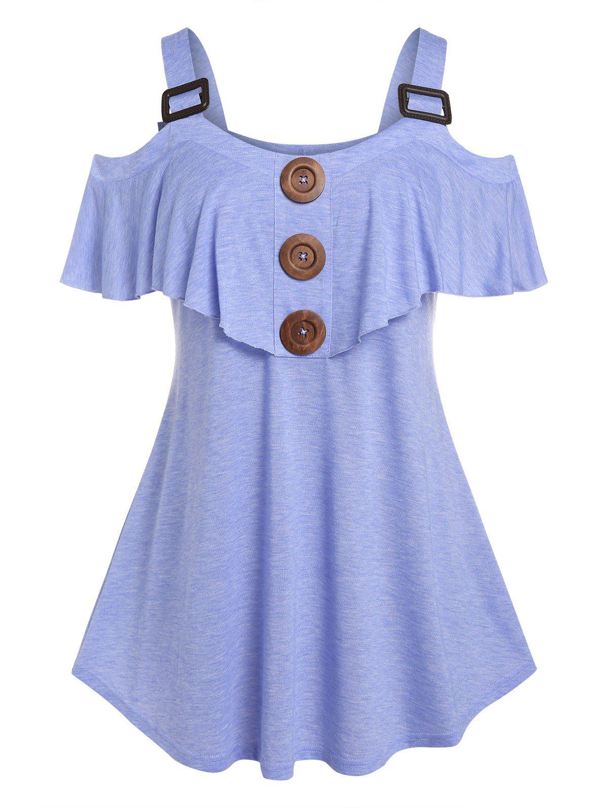 Best Plus Size Ruffle Cold Shoulder Buckled Tee