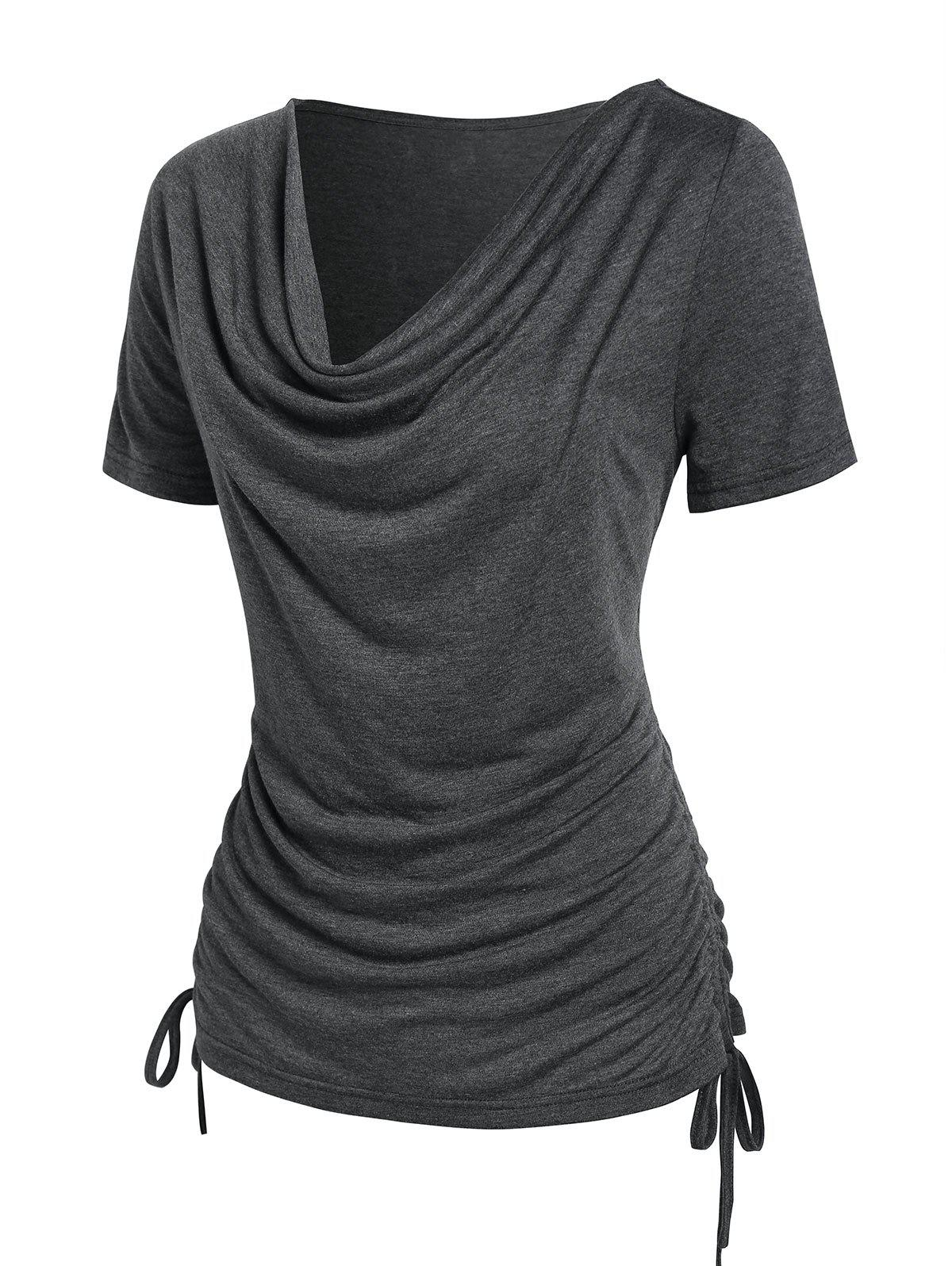 Shop Cowl Neck Ruched Cinched T-shirt