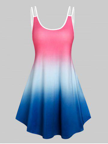 Sleeveless Ombre Color Tent Dress