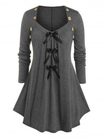 Plus Size Bowknot Pleated Button T Shirt - GRAY - 1X