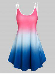 Sleeveless Ombre Color Tent Dress -