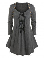 Plus Size Bowknot Pleated Button T Shirt -