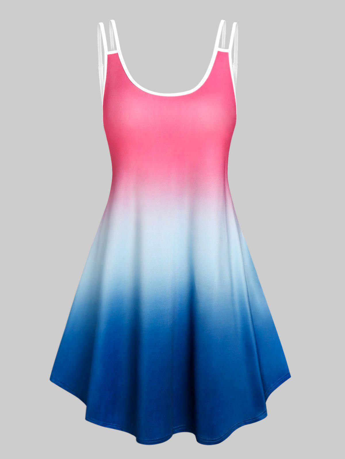 Affordable Sleeveless Ombre Color Tent Dress