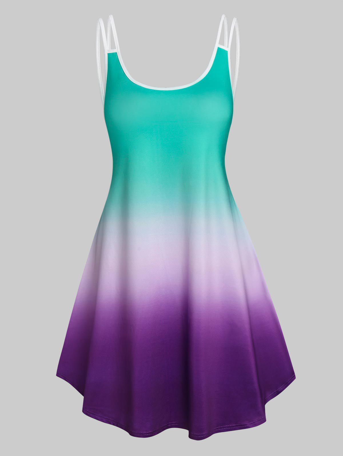 Best Sleeveless Ombre Color Tent Dress