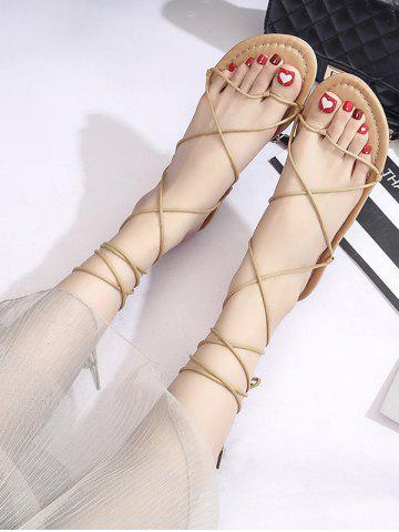 Strappy Lace-Up Ankle Wrap Sandals - LIGHT BROWN - EU 39