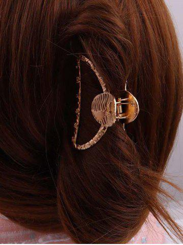 Gold Tone Engraved Hair Claw Clip - GOLDEN