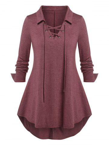 Plus Size Lace Up Curved Hem Long Sleeve Top - DEEP RED - 1X