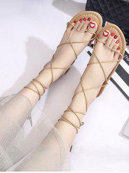 Strappy Lace-Up Ankle Wrap Sandals -