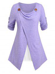 Plus Size Faux Twinset Roll Up Sleeve Tee -
