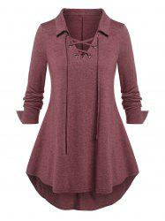 Plus Size Lace Up Curved Hem Long Sleeve Top -