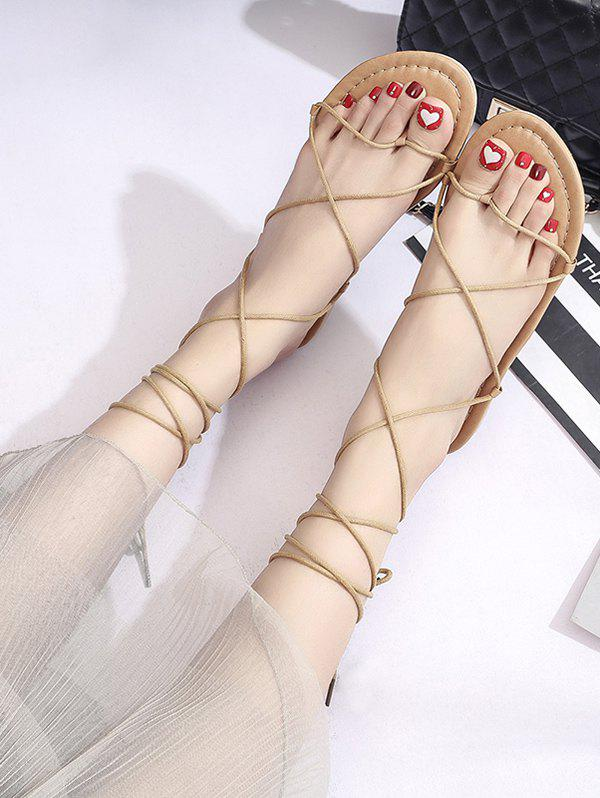 Fancy Strappy Lace-Up Ankle Wrap Sandals