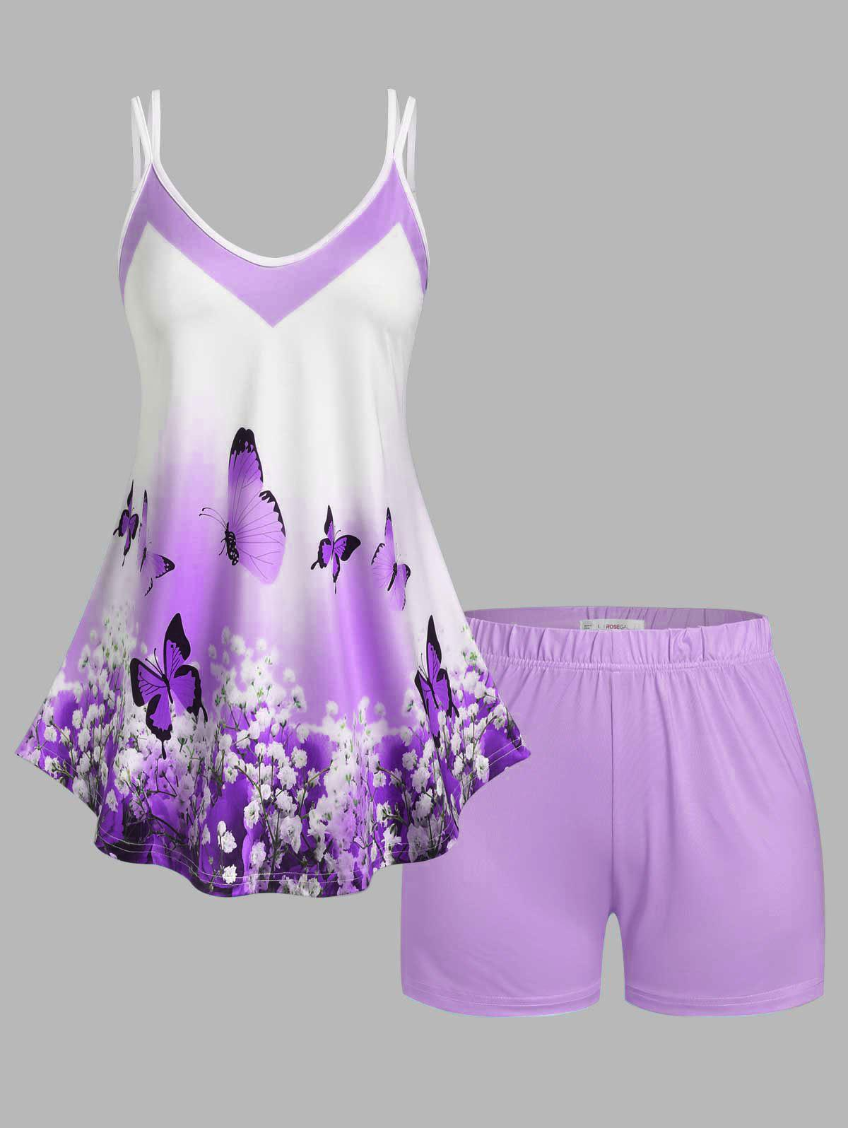 Buy Plus Size Floral Butterfly Print Shorts Pajamas Set