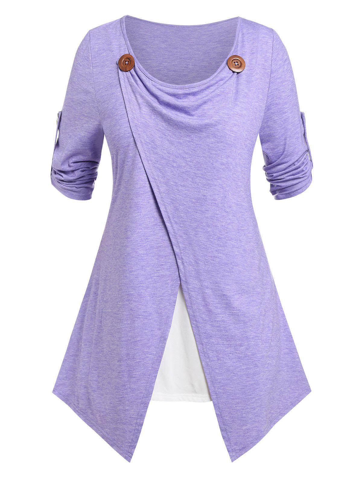 Online Plus Size Faux Twinset Roll Up Sleeve Tee