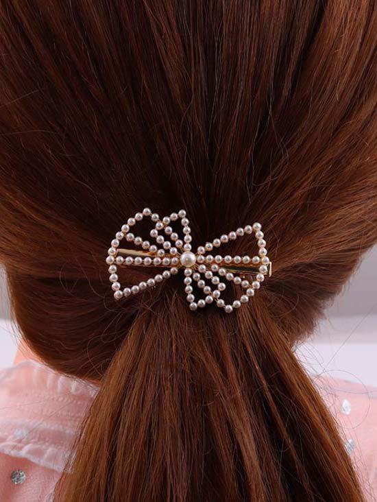 Outfits Bowknot-Shaped Faux Pearl Hair Clip