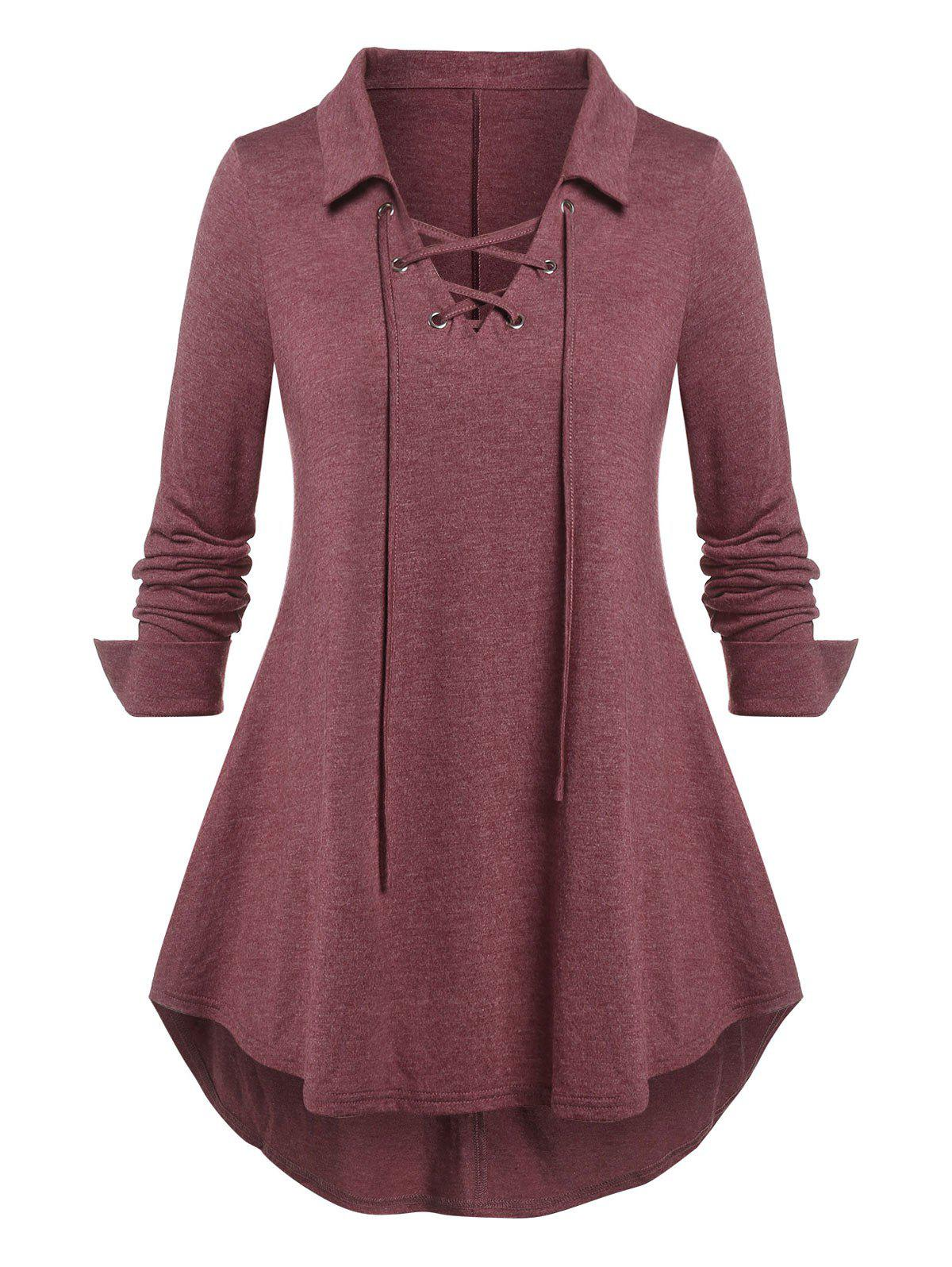 Outfit Plus Size Lace Up Curved Hem Long Sleeve Top