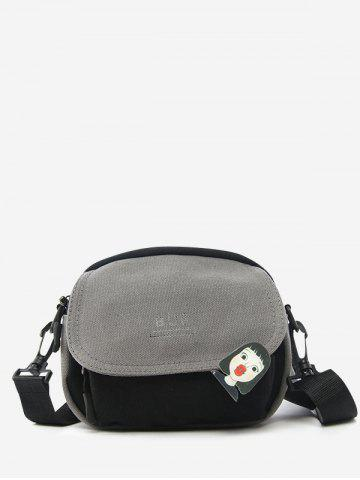 Colorblock Canvas Flap Crossbody Bag With Badge