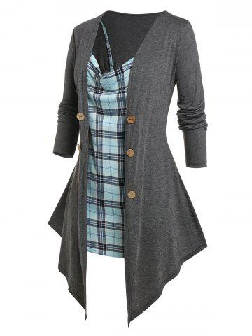 Plus Size Draped Open Top and Plaid Cami Top Set - GRAY - 1X