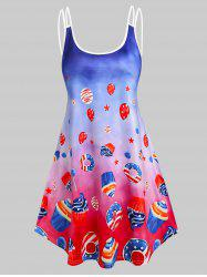 American Flag Desserts Print Ombre Strappy Dress -