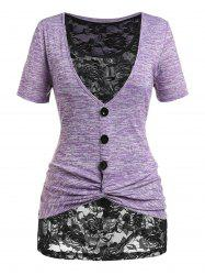 Plus Size Twist Space Dye Tee and Lace Tank Top Set -