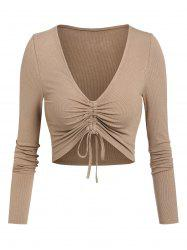 Plunge Neck Cinched Ribbed Cropped T-shirt -