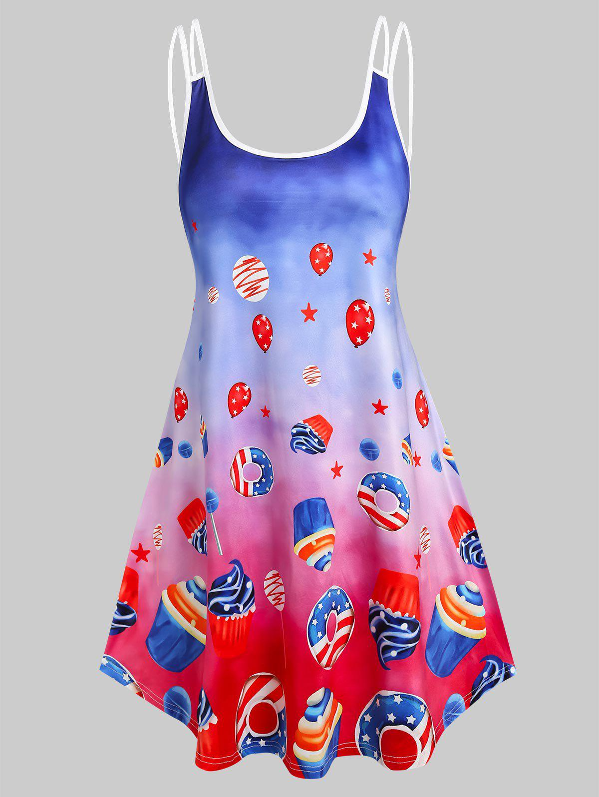 Cheap American Flag Desserts Print Ombre Strappy Dress