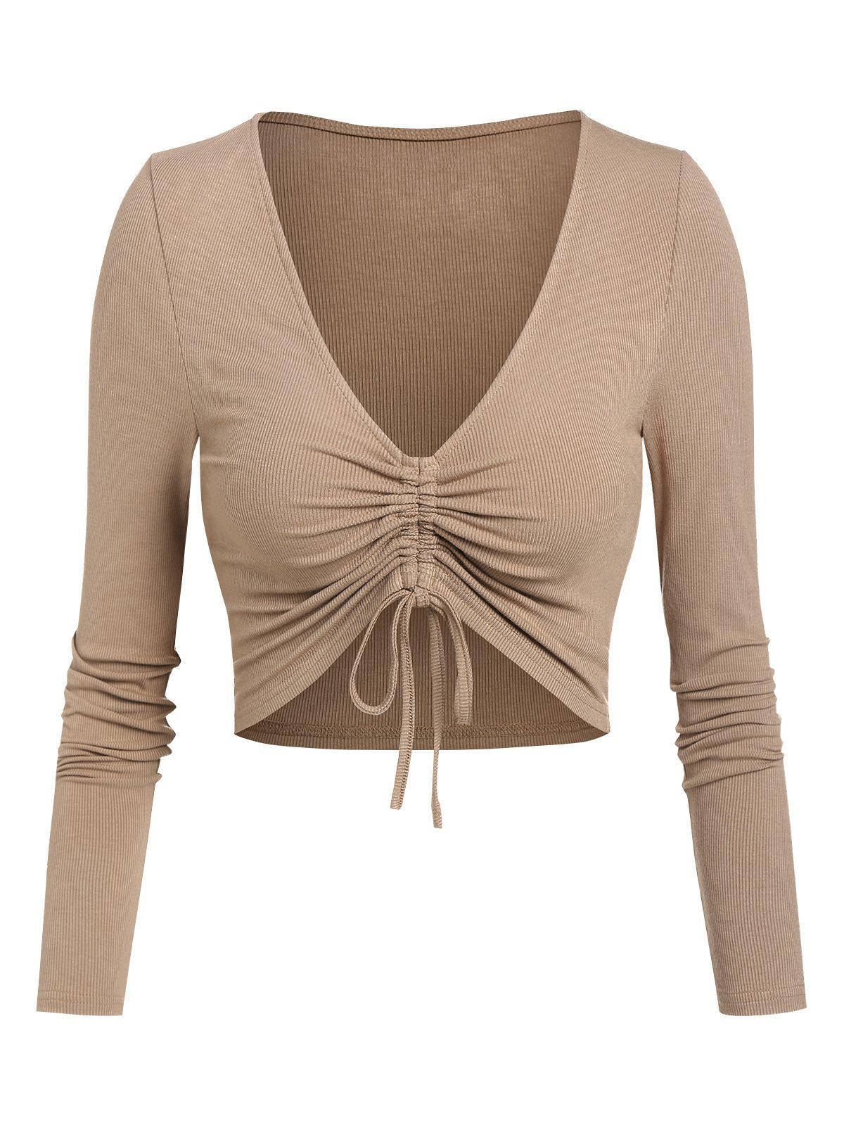 Affordable Plunge Neck Cinched Ribbed Cropped T-shirt