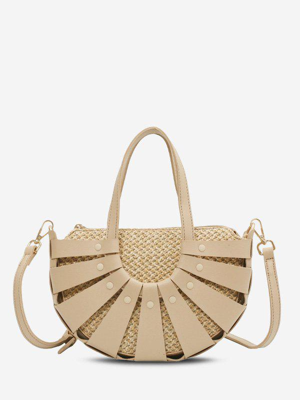 Fancy Hollow Out Semicircle Straw Handbag