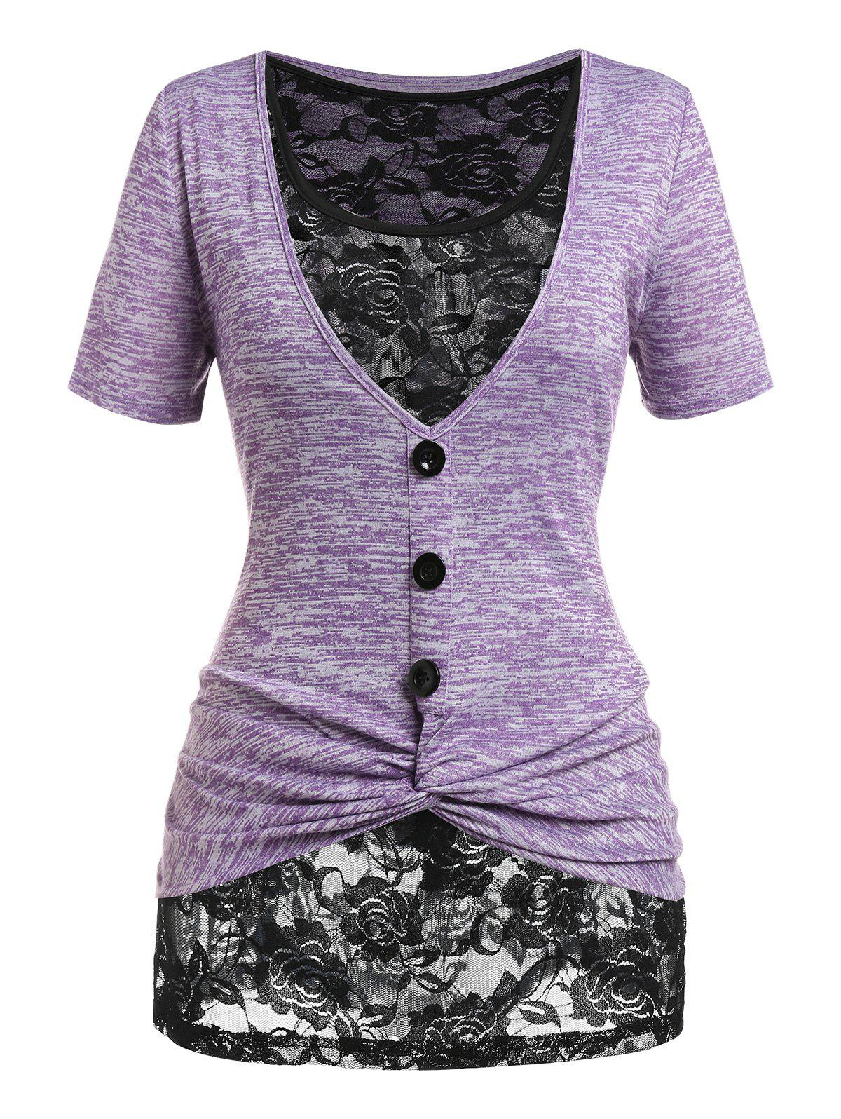 New Plus Size Twist Space Dye Tee and Lace Tank Top Set
