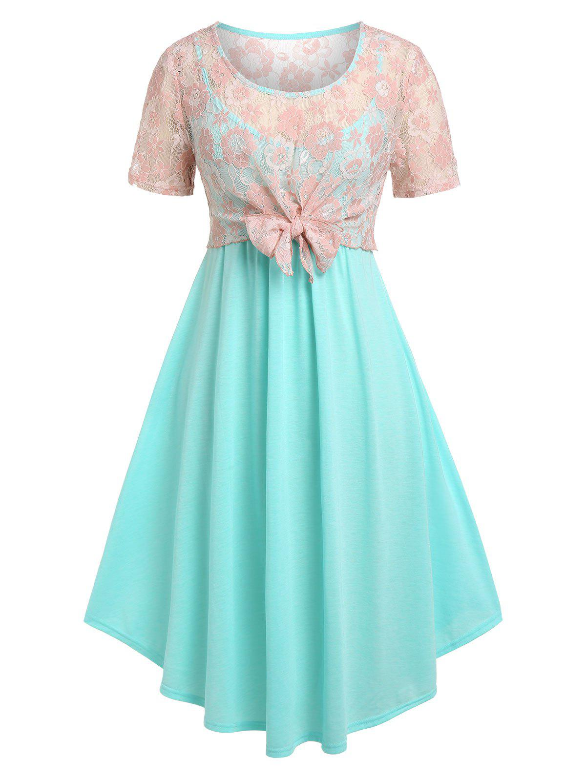 Discount Plus Size Lace Bowknot Top and Midi Cami Dress Set