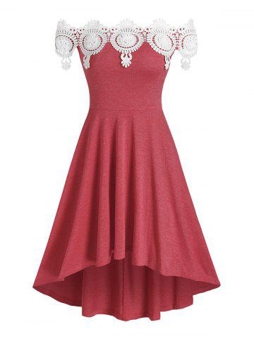 Lace Insert Off The Shoulder High Low Dress