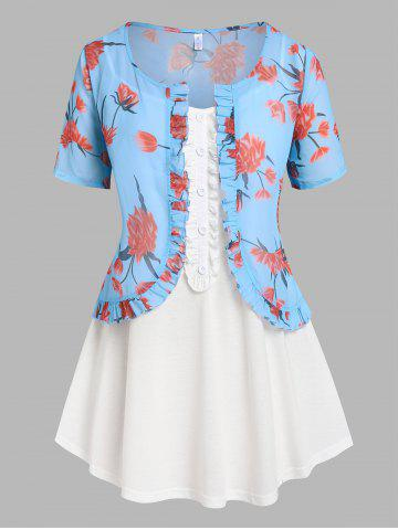 Plus Size Flower Chiffon Ruffle Top with Cami Top Set