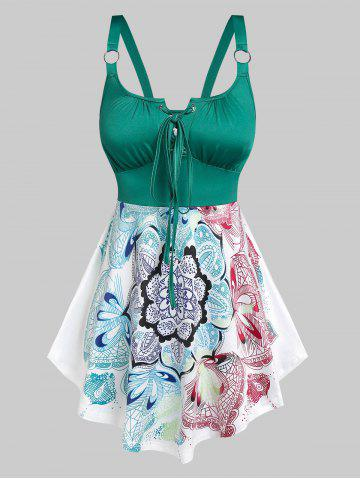 Lace Up Flower Printed Tank Top