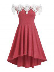 Lace Insert Off The Shoulder High Low Dress -