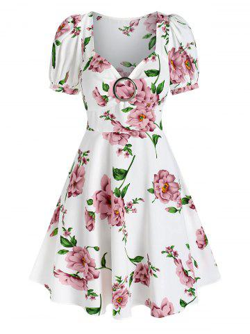 Floral Print Puff Sleeve Flare Dress